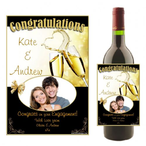 Personalised Wedding Engagement Congratulations Wine / Champagne Bottle PHOTO Label N16